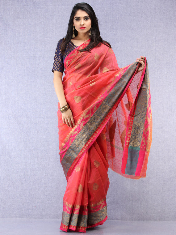 Banarasee Silk Saree With Zari Work - Coral Pink  Blue & Gold - S031704437