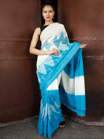 Blue White Double Ikat Handwoven Mercerised Cotton Saree - S031703666