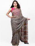 Ivory Charcoal Grey Red Hand Block Printed Chiffon Saree with Zari Border - S031703265