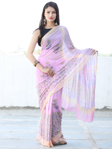 Baby Pink Yellow Hand Block Printed Chiffon Saree with Zari Border - S031703944