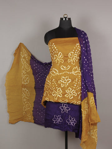 Peanut Brown Purple White Hand Tie & Dye Bandhej Suit Salwar Dupatta (Set of 3)  - S16281272