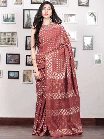 Blush White Hand Block Printed Cotton Mul Saree - S031703048