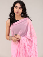 Pink Aari Embroidered Georgette Saree From Kashmir - S031704656