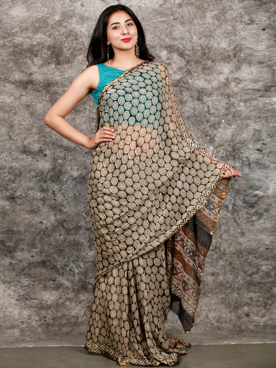 Ivory Black Hand Block Printed Chiffon Saree with Zari Border - S031703223