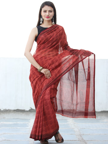 Rust Red Black Bagh Hand Block Printed Kota Doria Saree - S031703905