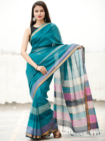 Teal Blue Green Handloom Mangalagiri Cotton Saree With Zari Border - S031704059