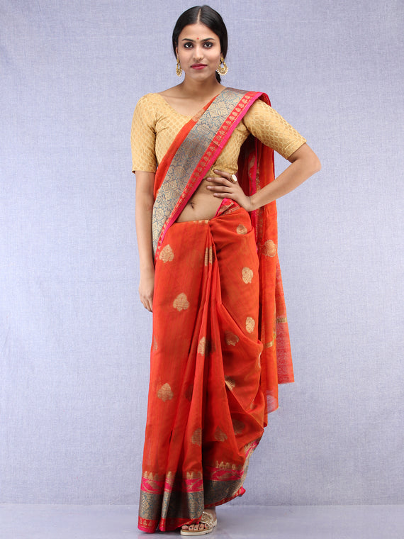Banarasee Cotton Silk Saree With Zari Work - Rustic Red Blue & Gold - S031704438