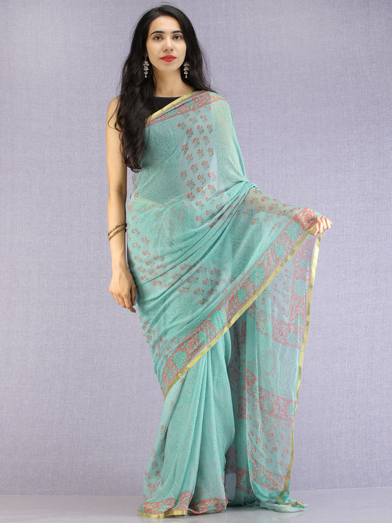 Pastel Green Coral Hand Block Printed Chiffon Saree with Zari Border - S031704615