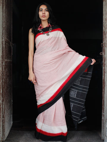 Red White Black Double Ikat Handwoven Mercerised Cotton Saree - S031703543