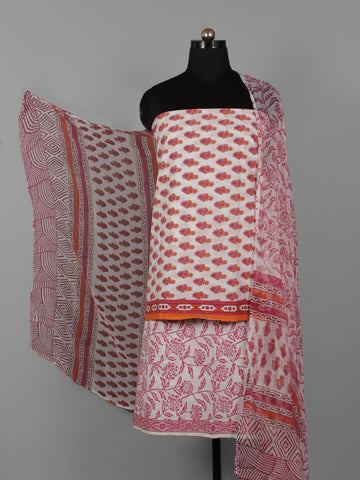 White Pink Orange Hand Block Printed Cotton Suit-Salwar Fabric With Chiffon Dupatta (Set of 3) - S16281310