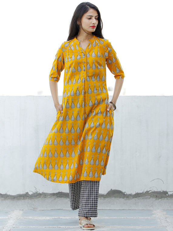 Mustard Yellow White Grey Cotton Hand Block Printed Kurta & Pants - Set of 2 - SS01F1867