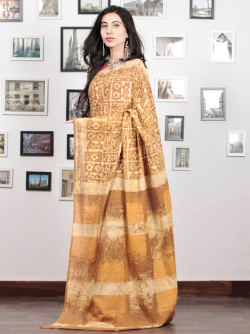 Mustard Yellow Ivory Hand Block Printed Cotton Mul Saree - S031703049