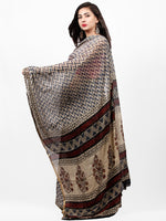 Ivory Indigo Black Hand Block Printed Chiffon Saree with Zari Border - S031703266