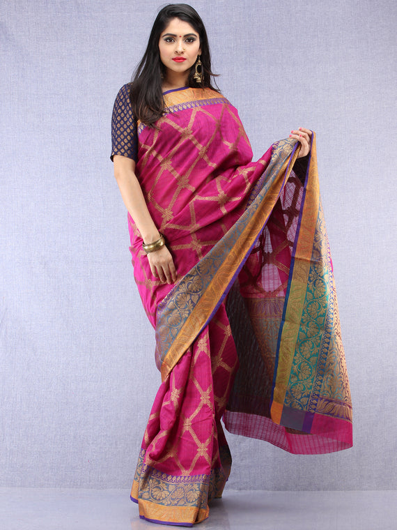 Banarasee Cotton Silk Saree With Zari Work - Onion Pink Orange & Copper - S031704439