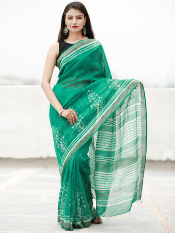 Green Ivory Hand Block Printed Handwoven Linen Saree With Zari Border - S031704060