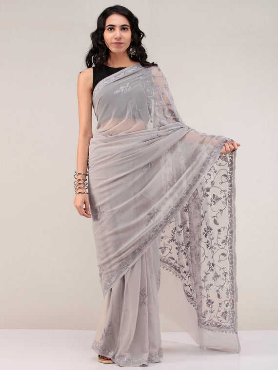 Grey Aari Embroidered Georgette Saree From Kashmir - S031704658