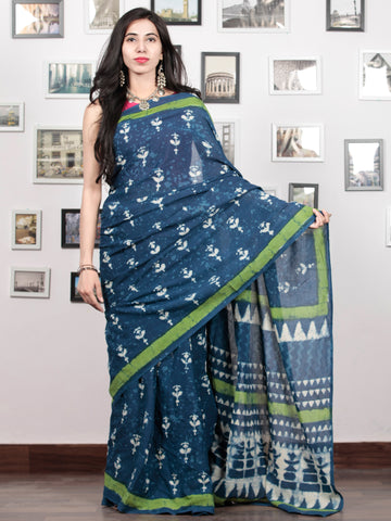Indigo White Green Hand Block Printed Cotton Mul Saree - S031703050