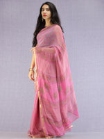 Pink Green Mustard Hand Block Printed Chiffon Saree with Zari Border - S031704616