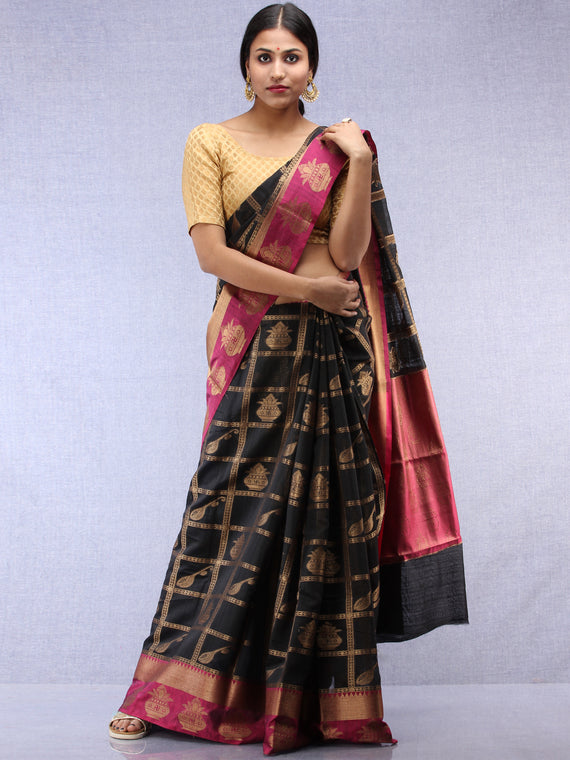 Banarasee Cotton Silk Saree With Zari Work - Black Pink & Copper Gold - S031704440