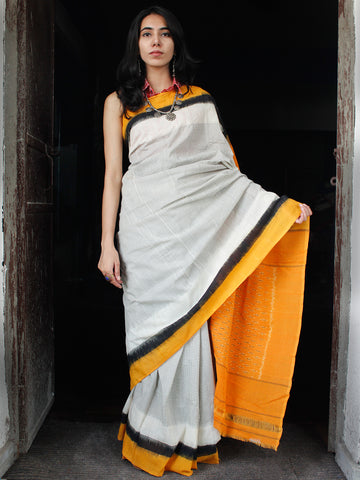 White Black Rust Orange Double Ikat Handwoven Mercerised Cotton Saree - S031703545