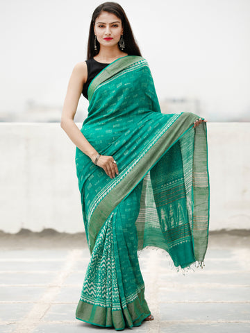 Green Ivory Hand Block Printed Handwoven Linen Saree With Zari Border - S031704061