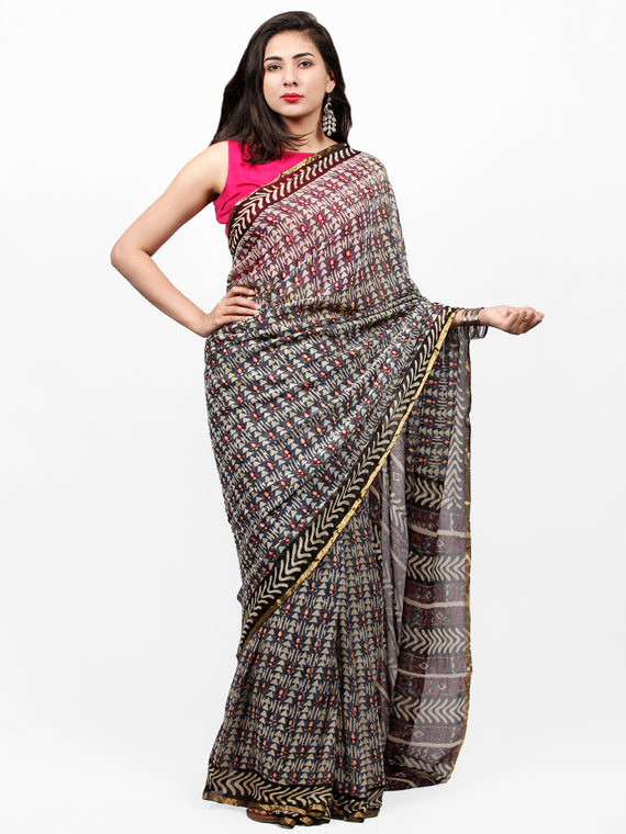 Ivory Grey Red Black Hand Block Printed Chiffon Saree with Zari Border - S031703268