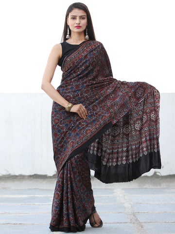Black Maroon Blue Grey Ajrakh Hand Block Printed Modal Silk Saree  - S031703907
