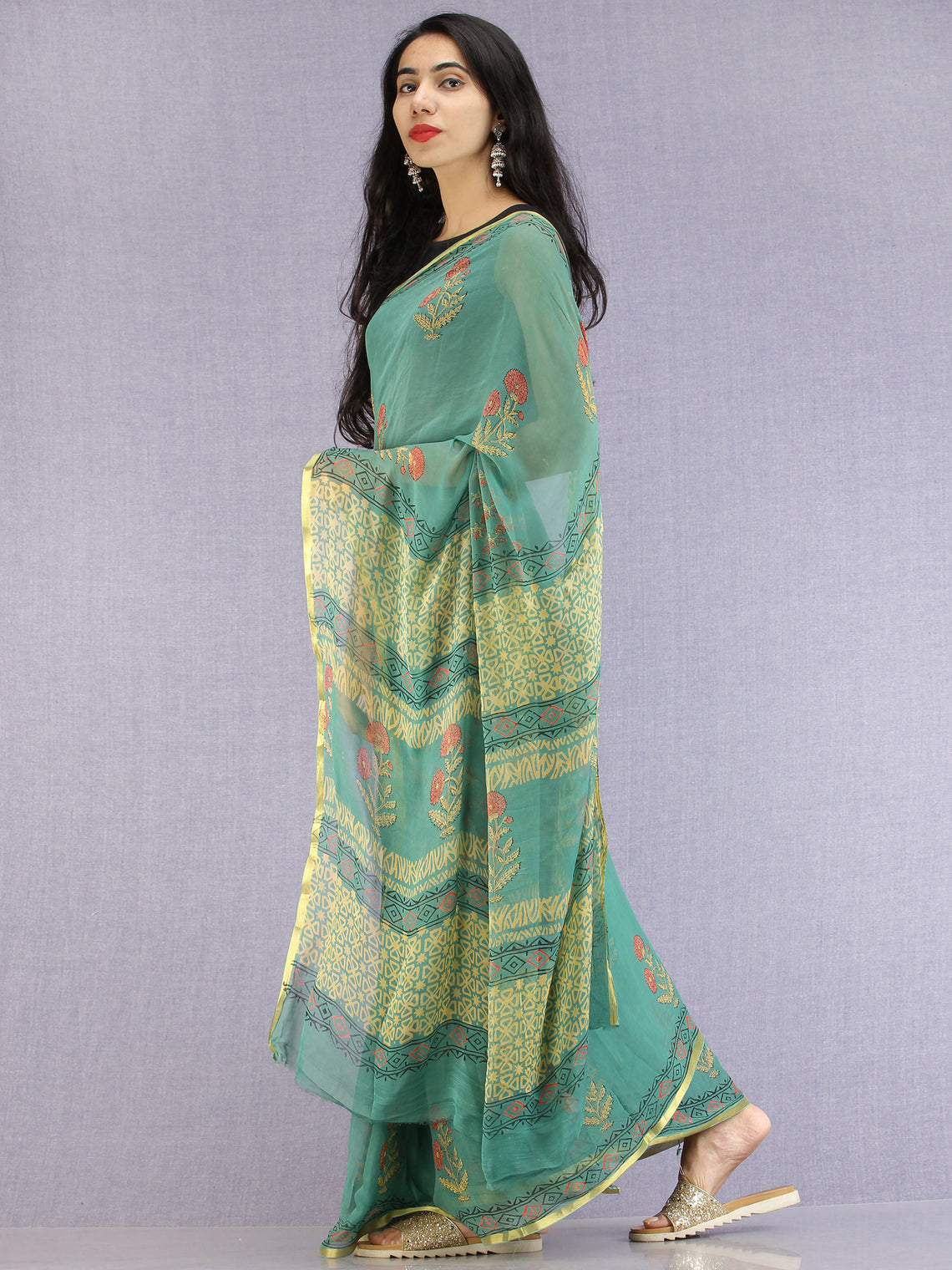 Green Red Yellow Hand Block Printed Chiffon Saree with Zari Border - S031704617
