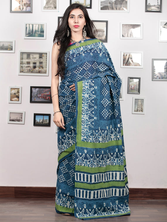 Indigo White Green Hand Block Printed Cotton Mul Saree - S031703051