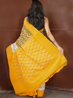 Yellow White Olive Green Ikat Handwoven Mercerised Cotton Saree - S031703668