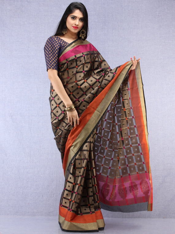 Banarasee Super Net Saree With Zari Border - Black Pink & Antique Gold - S031704441