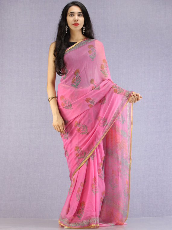 Pink Green Yellow Hand Block Printed Chiffon Saree with Zari Border - S031704618