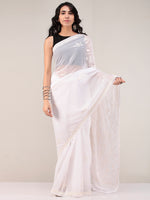 White Aari Embroidered Georgette Saree From Kashmir - S031704660