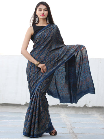 Indigo Red Black Ajrakh Hand Block Printed Modal Silk Saree  - S031703908
