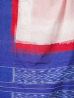 Red White Royal Blue Double Ikat Handwoven Cotton Saree - S031703546