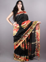 Black Red Marvel Hand Shibori Dyed in Natural Colors Chanderi Saree with Geecha Border - S03170139