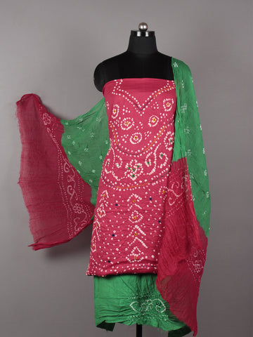 Pink Green White Hand Tie & Dye Bandhej Suit Salwar Dupatta (Set of 3) With Hand Embroidery & Mirror Work - S16281243