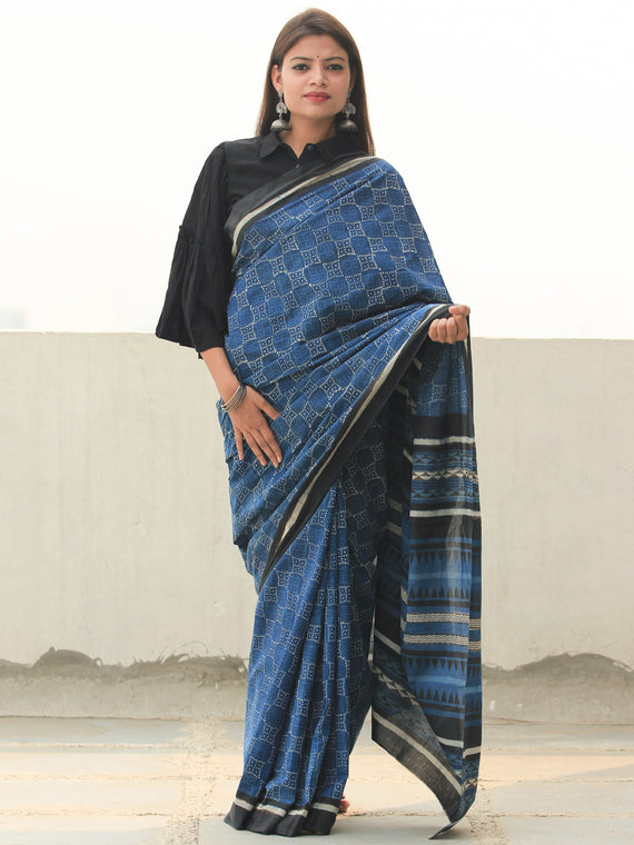 Indigo Black Ivory Hand Block Printed  Cotton Mul Saree - S031704100