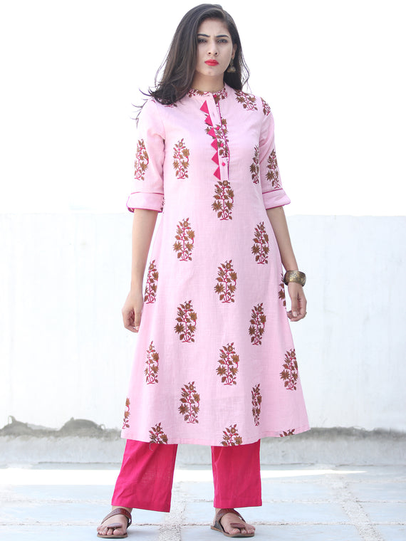 Pink Coral Brown Cotton Block Printed Kurta & Pants - Set of 2 - SS01F048