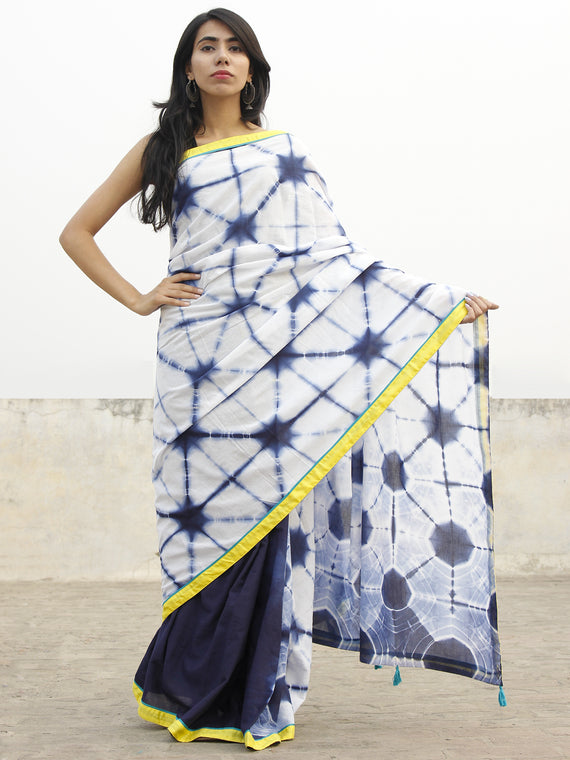 Indigo Ivory Hand Shibori Dyed Saree With Yellow Green Border & Tassels - S031702558
