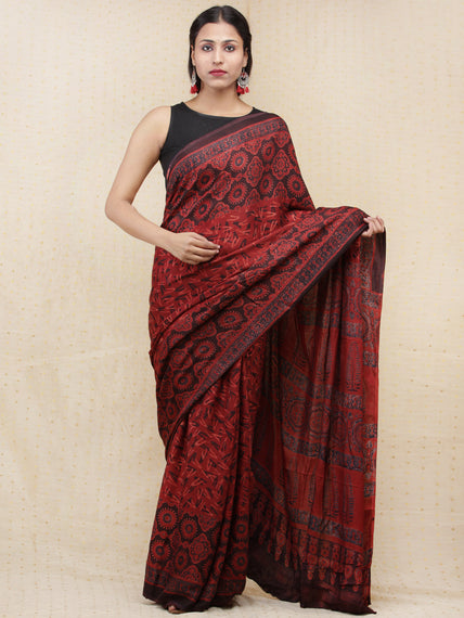 Crimson Red Black Ajrakh Hand Block Printed Modal Silk Saree - S031704152
