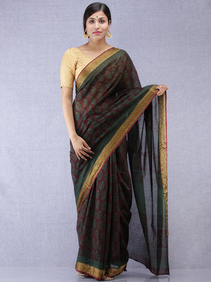 Bottle Green Black Bagh Printed Maheshwari Cotton Saree - S031704398