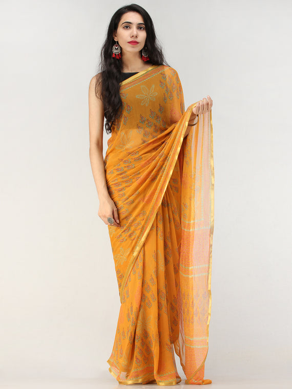 Orange Green Hand Block Printed Chiffon Saree with Zari Border - S031704555