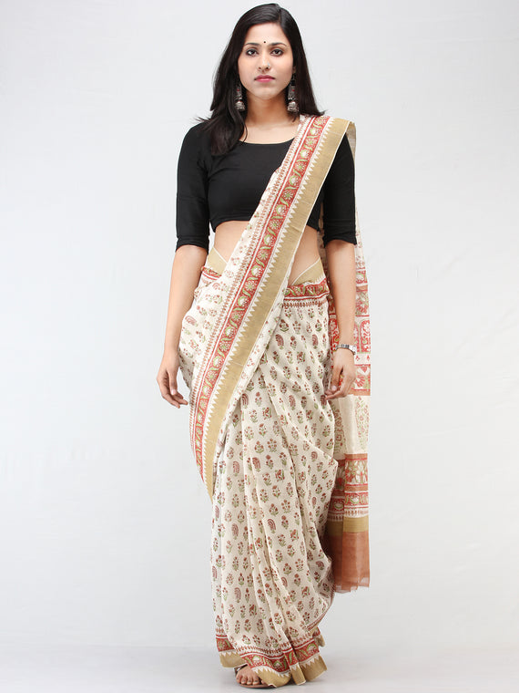White Rosewood Green Chanderi Hand Block Printed Saree With Geecha Border - S031704457