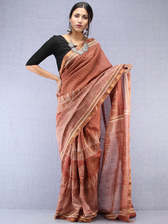 Light Brown Ivory Maheshwari Silk Hand Block Printed Saree With Zari Border - S031704481