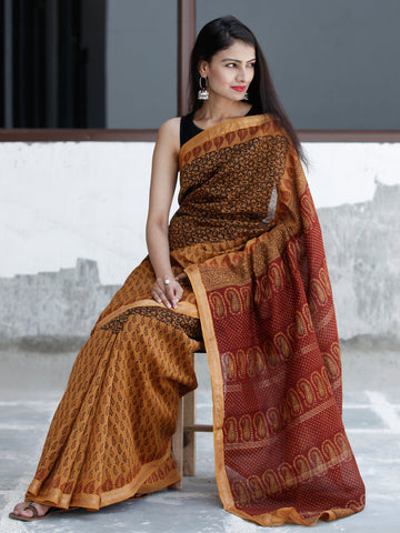 Rust Orange Maroon Black Bagh Hand Block Printed Maheswari Silk Saree With Resham Border - S031703828