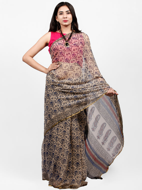 Beige Indigo Red Hand Block Printed Chiffon Saree with Zari Border - S031703234