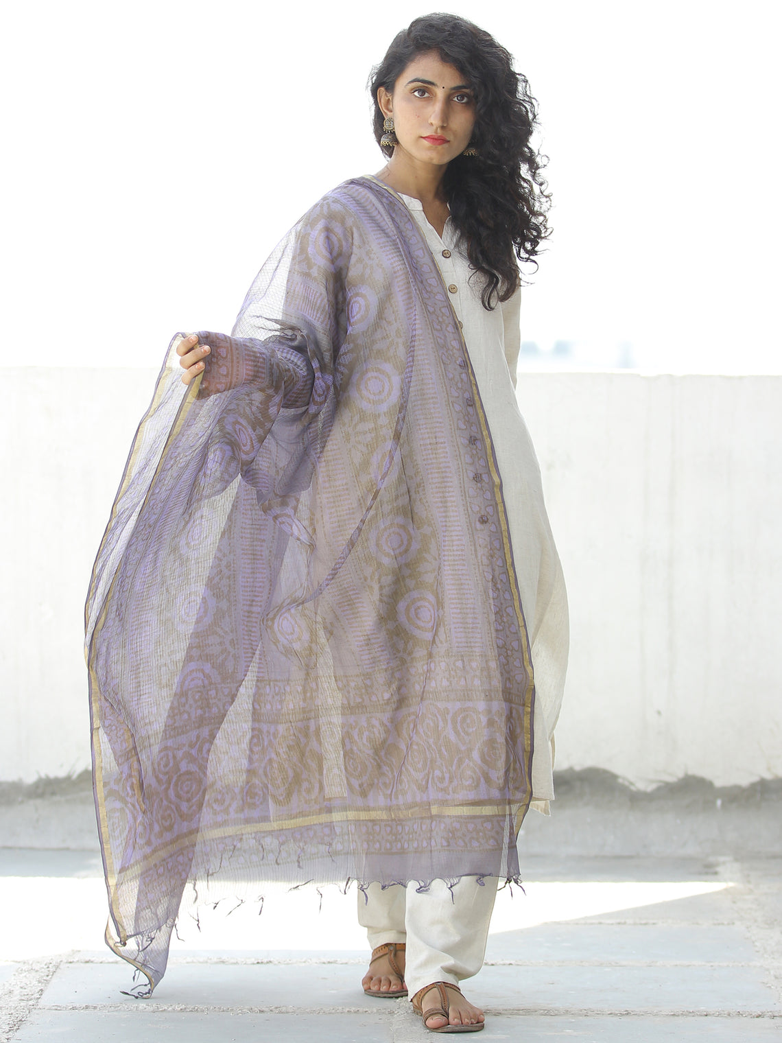 Purple Grey Kota Silk Hand Block Printed Dupatta - D04170535