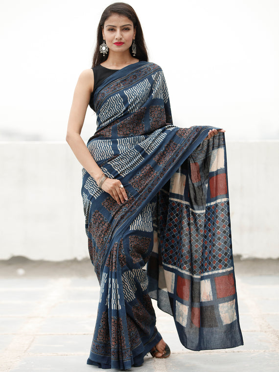 Indigo Ivory Maroon Black Ajrakh Hand Block Printed Cotton Saree in Natural Colors - S031703808