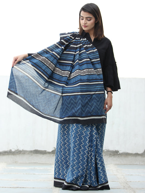 Indigo White Black  Hand Block Printed  Cotton Mul Saree - S031704112